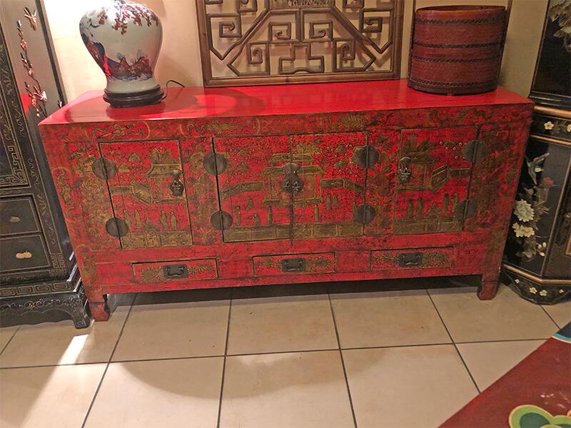 Chińska komoda czerwona