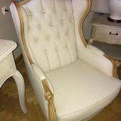 fotel jasny tapicerowany